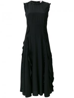 Длинное платье с оборкой Red Valentino. Цвет: чёрный