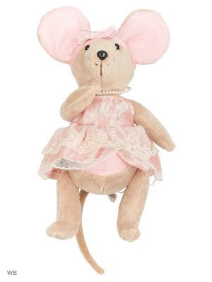Мышка шарнирная Lady mouse Зефирка  в розовом платье Fluffy Family. Цвет: розовый, серый