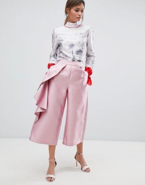 Ted Baker Широкие брюки с оборками. Цвет: розовый