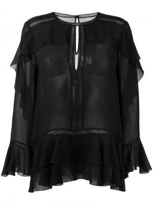 Блузка с рюшами Alberta Ferretti. Цвет: чёрный