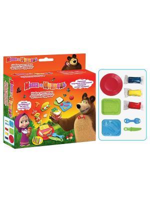 Набор для лепки Бутербродики Маша и медведь. Цвет: красный, желтый, зеленый