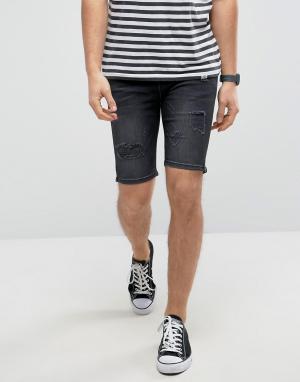 Good For Nothing Черные состаренные джинсовые шорты супероблегающего кроя Noth. Цвет: черный