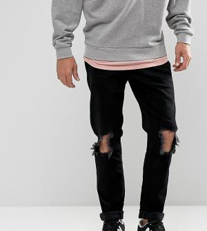 Brooklyn Supply Co. Узкие черные джинсы с дырками на коленях Co. Цвет: черный