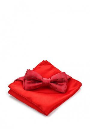Комплект галстук и носовой платок Piazza Italia. Цвет: красный