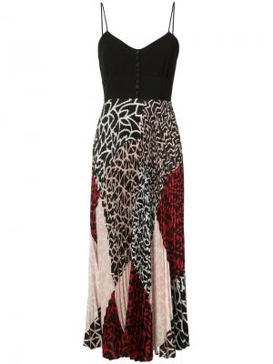 Плиссированное платье с нашивками Yigal Azrouel. Цвет: чёрный