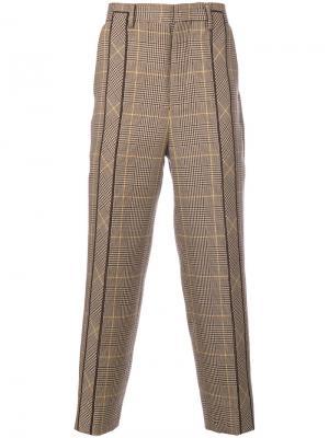 Классические брюки со складками в клетку Wooyoungmi. Цвет: коричневый