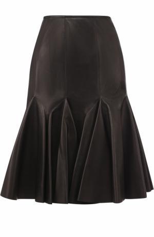 Кожаная юбка-миди Alaia. Цвет: черный
