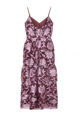 Шелковое платье Justina Erdem. Цвет: винный