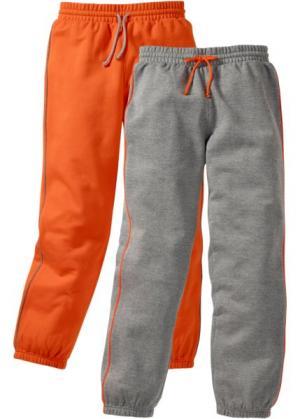 Спортивные брюки с лампасами (2 штуки) (серый меланж/темно-оранжевый) bonprix. Цвет: серый меланж/темно-оранжевый
