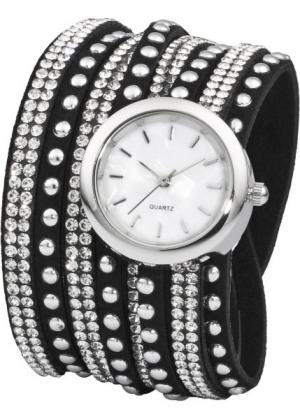 Часы с длинным ремешком и сверкающими стразами (черный/серебристый) bonprix. Цвет: черный/серебристый