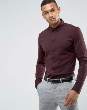 Threadbare Трикотажная приталенная рубашка Premium. Цвет: фиолетовый