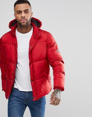 Puffa Дутое пальто с капюшоном. Цвет: красный