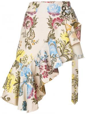 Асимметричная юбка с цветочным узором Marquesalmeida Marques'almeida. Цвет: телесный
