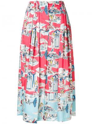 Укороченные брюки с принтом Blugirl. Цвет: розовый и фиолетовый