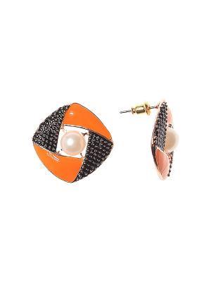 Серьги Olere. Цвет: оранжевый, золотистый, белый, черный