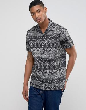 LDN DNM Рубашка с короткими рукавами, отложным воротником и принтом. Цвет: красный