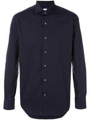 Рубашка с закругленным подолом Alessandro Gherardi. Цвет: синий