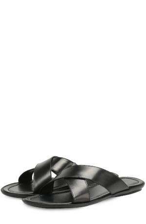 Кожаные шлепанцы с широкими ремешками Doucals Doucal's. Цвет: черный