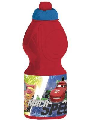 Бутылка пластиковая (спортивная, фигурная, 400 мл). Тачки Грани гонок Stor. Цвет: красный