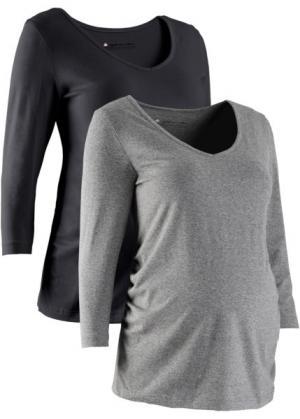 Футболка для беременных (2 шт.) (черный + серый меланж) bonprix. Цвет: черный + серый меланж