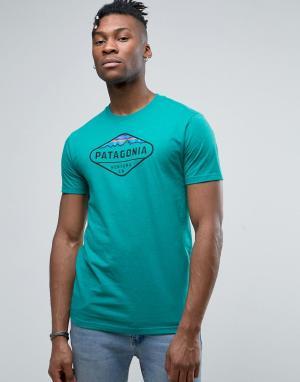 Patagonia Бирюзовая меланжевая футболка с логотипом Fitz Roy. Цвет: синий