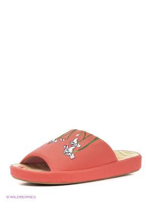 Тапочки женские Dream Feet. Цвет: коралловый