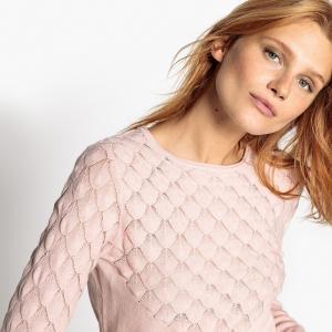 Пуловер ажурный MADEMOISELLE R. Цвет: розовый,слоновая кость,фиолетово-синий