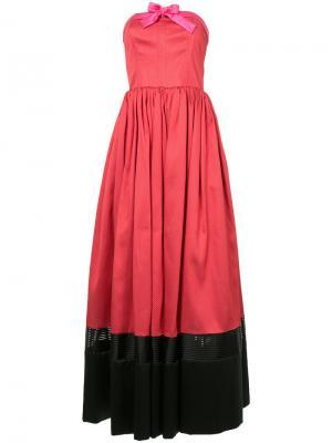 Платье без бретелей дизайна колор-блок Alexis Mabille. Цвет: красный