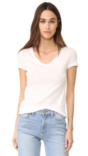 Легкая футболка 1X1 с V-образным вырезом Petit Bateau. Цвет: молочный