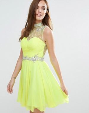 Forever Unique Приталенное платье мини. Цвет: зеленый