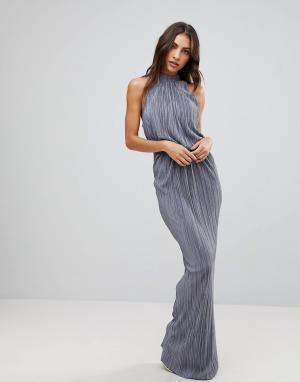 Love Плиссированное платье макси. Цвет: серый