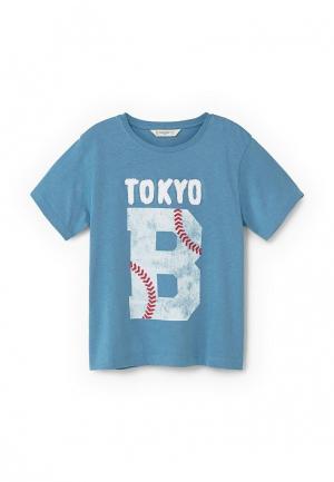Футболка Mango Kids. Цвет: голубой