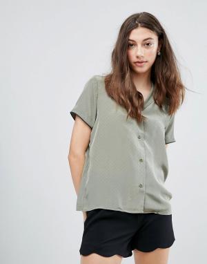 Pieces Рубашка с короткими рукавами Mallia. Цвет: зеленый