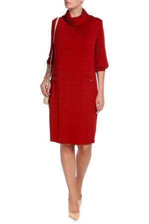 Свободное платье с воротником Хомут Forus. Цвет: терракотовый