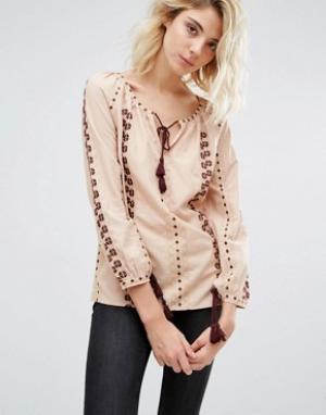 Gat Rimon Блузка с вышивкой Analis Boho. Цвет: розовый