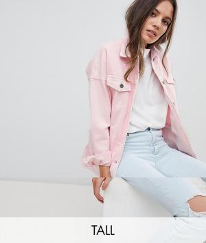 Noisy May Tall Джинсовая куртка. Цвет: розовый
