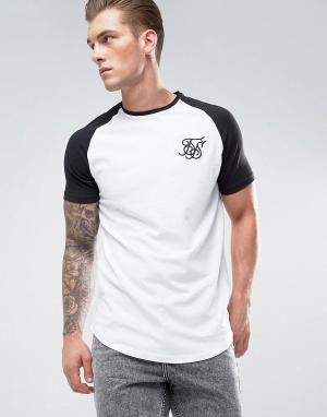 SikSilk Белая обтягивающая футболка с рукавами реглан. Цвет: белый