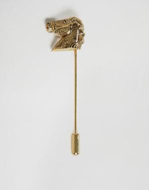 ASOS Булавка на лацкан с головой лошади. Цвет: золотой