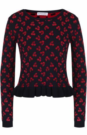 Укороченный пуловер с оборкой и ярким принтом Altuzarra. Цвет: черный