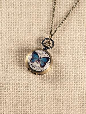 Кулон-часы Бабочка и ноты Mitya Veselkov. Цвет: бронзовый