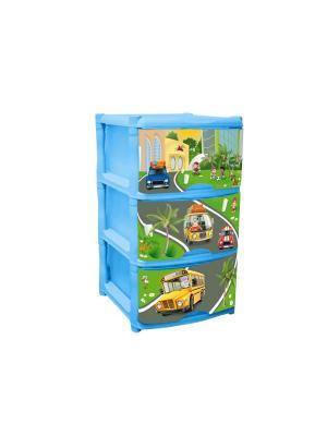 Детский комод для детской комнаты City Cars Tutti 3 ящика Little Angel. Цвет: голубой