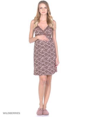 Ночная сорочка для беременных и кормящих ФЭСТ. Цвет: розовый, коричневый