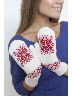 Варежки со снежинкой Непростые вещи. Цвет: красный, белый