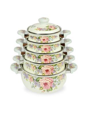 Набор кастрюль (газ/электро/индукция) 1,4/2,0/2,7/3,6/5,0л Peterhof. Цвет: белый, зеленый, розовый