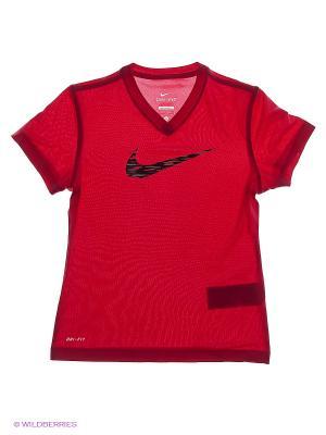 Футболка LEG V NECK SWOOSH FILL 2 YTH Nike. Цвет: розовый