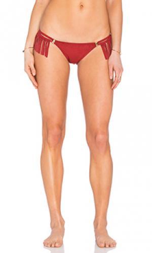 Плавки бикини с бахромой AGUADECOCO. Цвет: красный