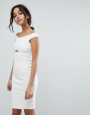 Bec & Bridge Облегающее платье с вырезом. Цвет: белый