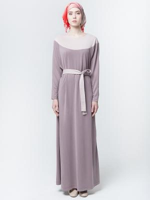 Платье макси трикотажное с поясом кофейное Bella kareema