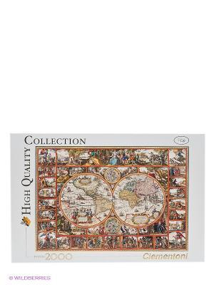 Пазл Старинная карта мира, 2000 эл. Clementoni. Цвет: белый, коричневый
