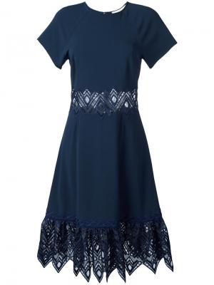 Расклешенное платье с вырезными деталями Jonathan Simkhai. Цвет: синий